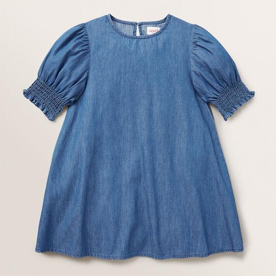 Shirred Chambray Dress  BRIGHT INDIGO  hi-res