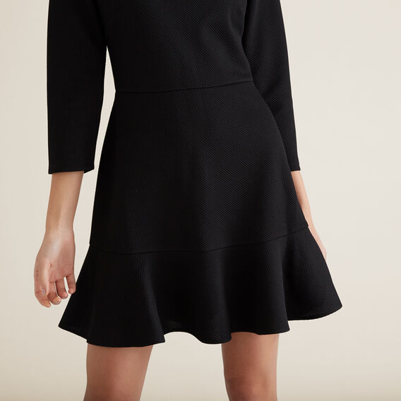 Textured Kick Flare Dress  BLACK  hi-res