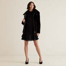 Faux Fur Jacket  BLACK  hi-res