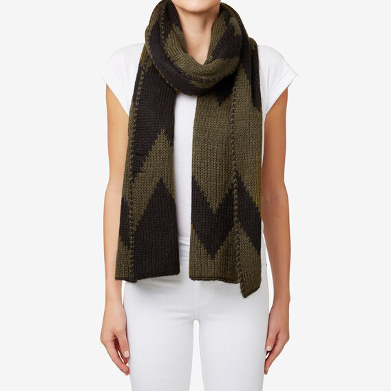 Chevron Knit Scarf  MILITARY OLIVE/BLACK  hi-res