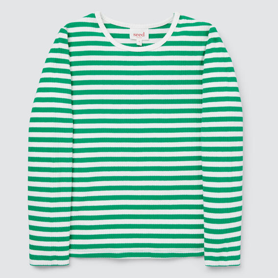 Stripe Rib Tee  APPLE GREEN/CANVAS  hi-res