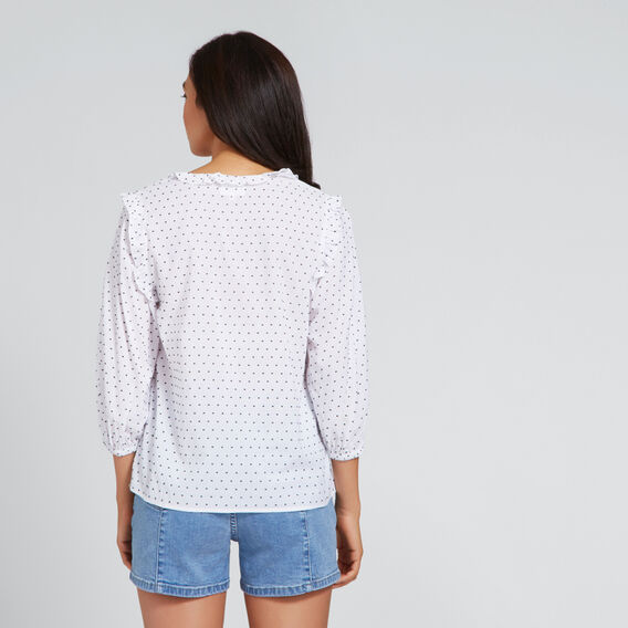 Ruffle Neck Top  SPOT  hi-res