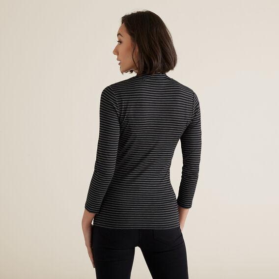 3/4 Sleeve High Neck Top  BLACK STRIPE  hi-res