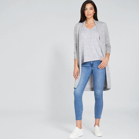 Rolled Cuff V Neck Top  MID GREY MARLE  hi-res