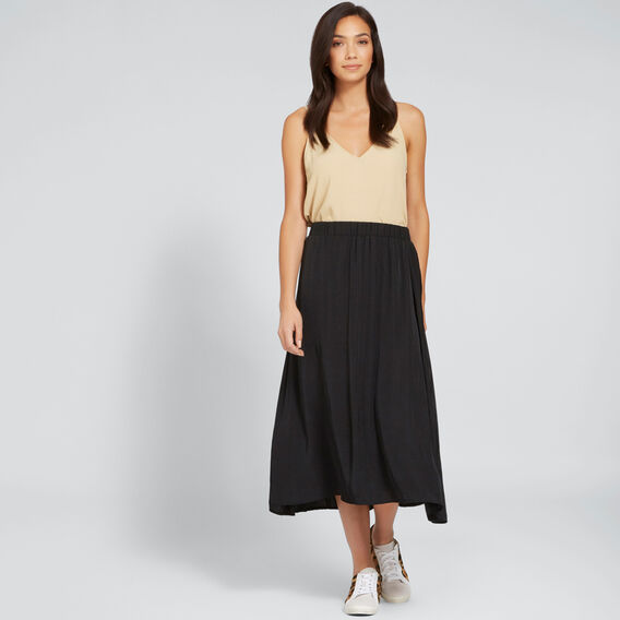 Flowing Midi Skirt  BLACK  hi-res
