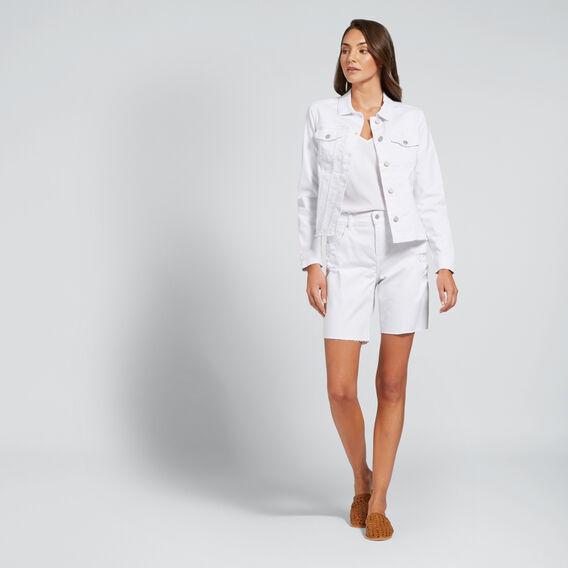 Zip Detail Denim Jacket  WHITE  hi-res