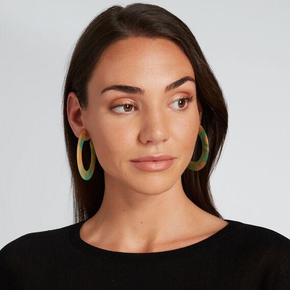 Coloured Hoop Earrings  WASHED GREEN  hi-res