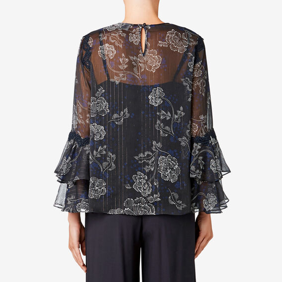 Lace Detail Floral Blouse  DEEP NAVY FLORAL  hi-res