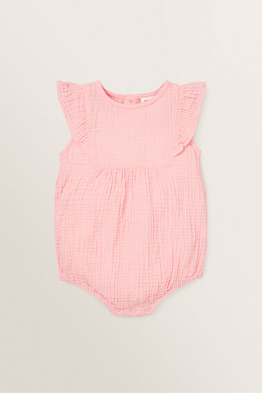 Cheesecloth Frill Onesie  BUBBLEGUM  hi-res