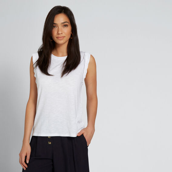 Frill Sleeve Tank  WHISPER WHITE  hi-res