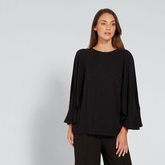Ruffle Sleeve Blouse  BLACK  hi-res