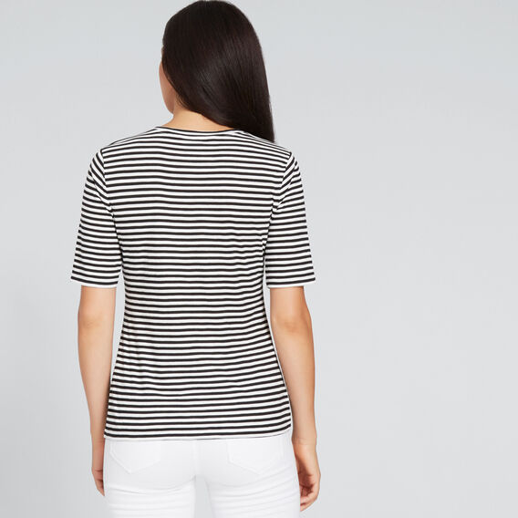 Round Neck Stripe Tee  BLACK/CLOUD CREAM  hi-res