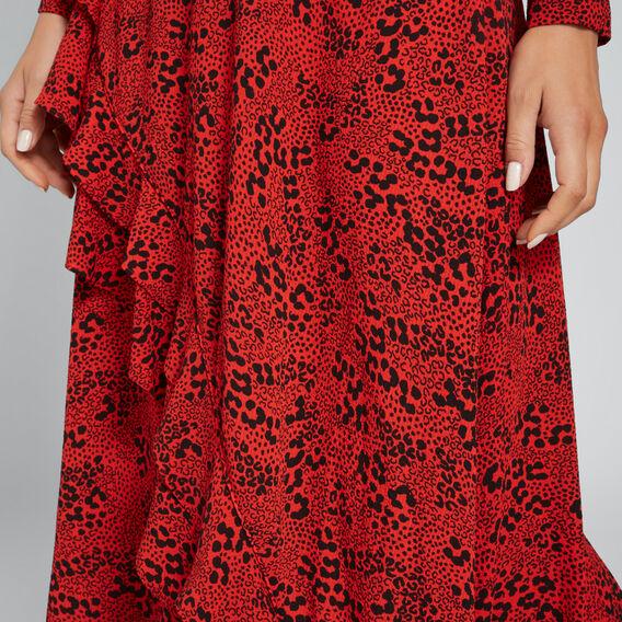 Animal Print Frill Skirt  FIERY RED ANIMAL  hi-res