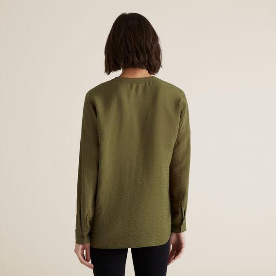 V Neck Textured Shirt  RICH OLIVE  hi-res