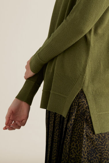 Split Hem Rib Sweater  CEDAR GREEN  hi-res