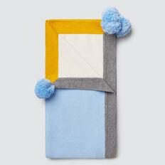 Pom Pom Knit Blanket  DUSK BLUE  hi-res