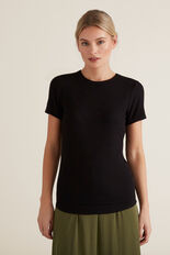 Basic Rib Tee  BLACK  hi-res