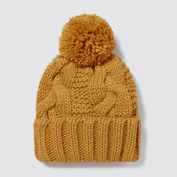 Pom Pom Cable Beanie  GOLDEN MUSTARD  hi-res