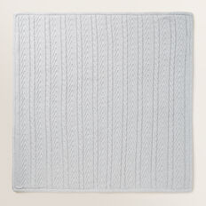 Knitted Cable Sherpa Blanket  BIRCH MARLE  hi-res