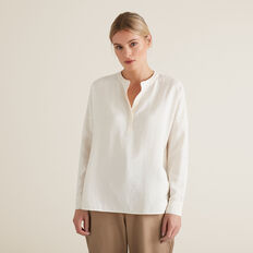 V Neck Textured Shirt  FRENCH VANILLA  hi-res