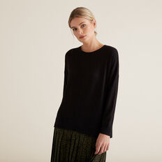 Easy Long Sleeve Top  BLACK  hi-res
