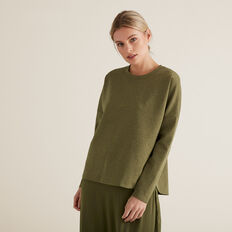 Comfy Fleck Top  RICH OLIVE FLECK  hi-res