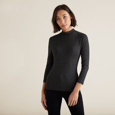 3/4 Sleeve High Neck Top  BLACK STRIPE  hi-res