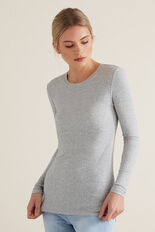 Long Sleeve Rib Top  MID GREY MARLE  hi-res