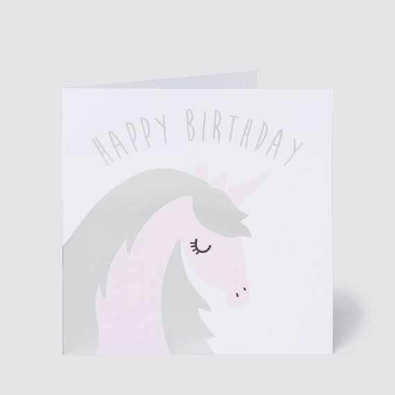 Large Unicorn Happy Birthday Card  MULTI  hi-res