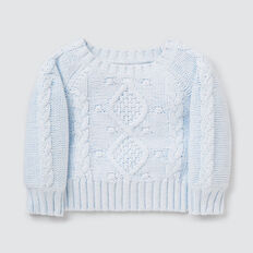 Cable Sweater  SOFT BLUE MARLE  hi-res