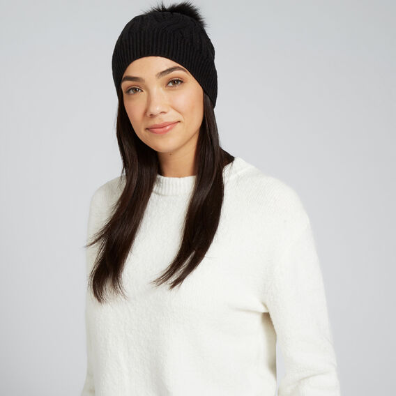 Cable Knit Beanie  BLACK  hi-res