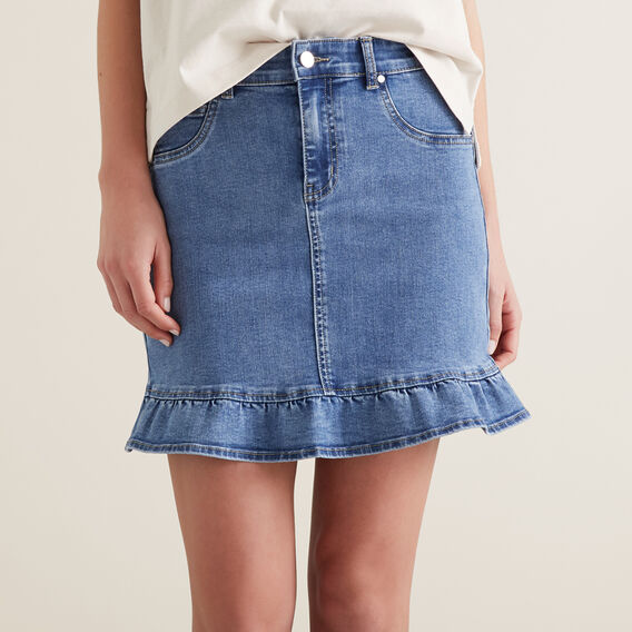 Frill Hem Denim Skirt by Seed Heritage