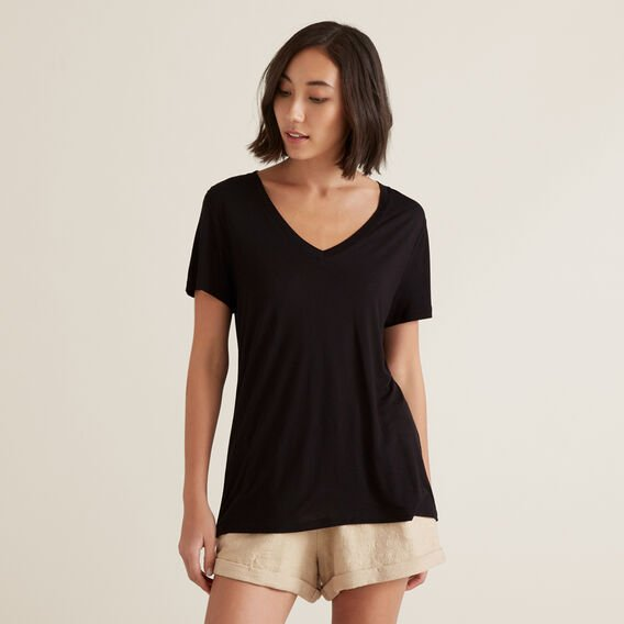 Core V Neck Drapey Tee by Seed Heritage
