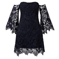Strapless Lace Dress  INK  hi-res