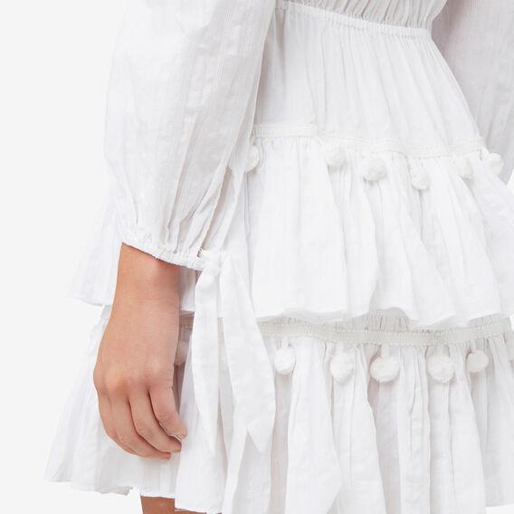 Off Shoulder Pom Pom Dress  BRIGHT WHITE  hi-res