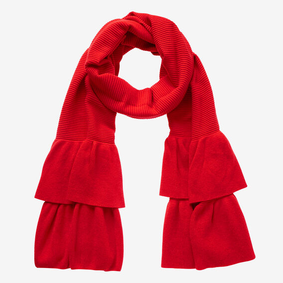 Knit Ruffle Scarf  BOLD RED  hi-res