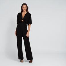 V-Neck Waisted Jumpsuit  BLACK  hi-res