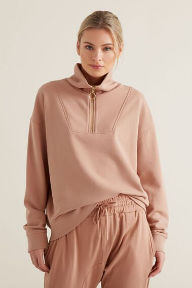 Drop Shoulder Zip Sweater  ROSE BLUSH  hi-res