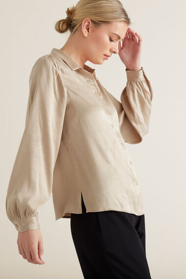 Button Down Soft Shirt  NEUTRAL BEIGE  hi-res