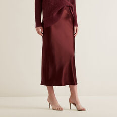 Satin Midi Skirt  DEEP CRIMSON  hi-res