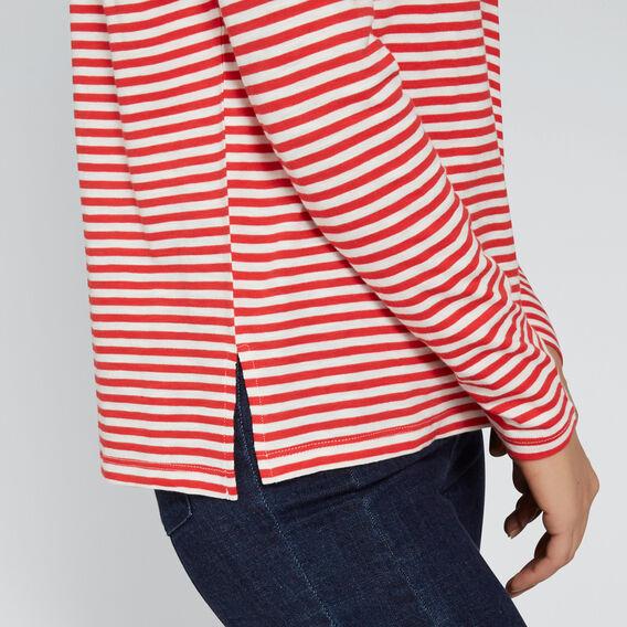 Stripe Long Sleeve Top  FIERY RED/CREAM  hi-res