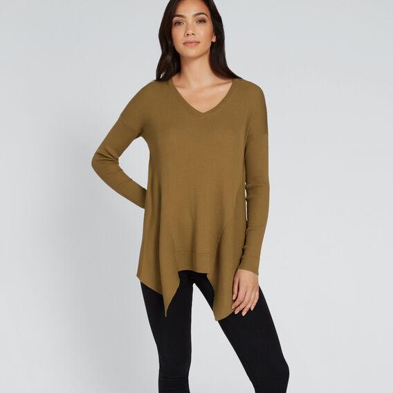 V Neck Rib Sweater  DARK KHAKI  hi-res