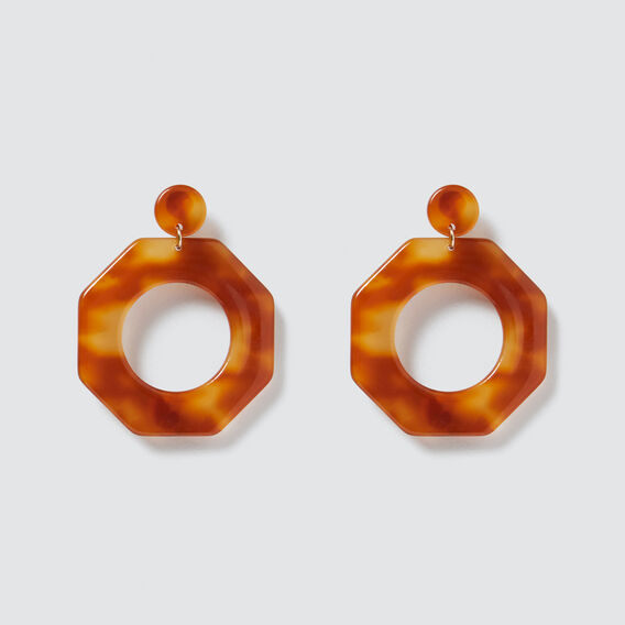 Octagon Earrings  AMBER  hi-res