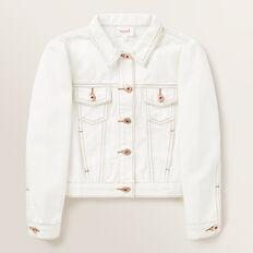 Puff Sleeve Denim Jacket  CREAM  hi-res