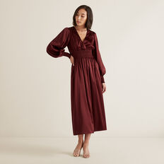 Shirred Waist Dress  DEEP CRIMSON  hi-res