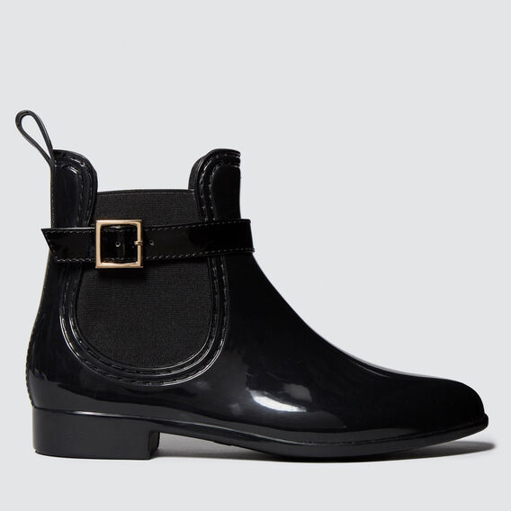 Side Buckle Jelly Boot  BLACK  hi-res