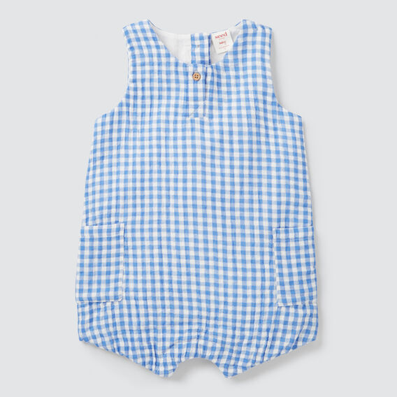 Gingham Cheesecloth Onesie  BRIGHT BLUEBELL  hi-res