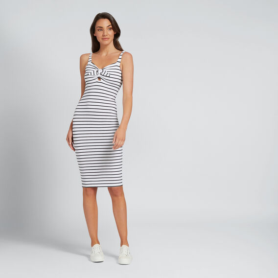 Tie Up Bow Dress  BLACK/WHITE STRIPE  hi-res
