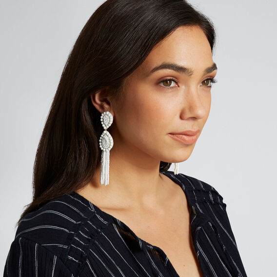 Tear Drop Tassel Earrings  WHITE  hi-res