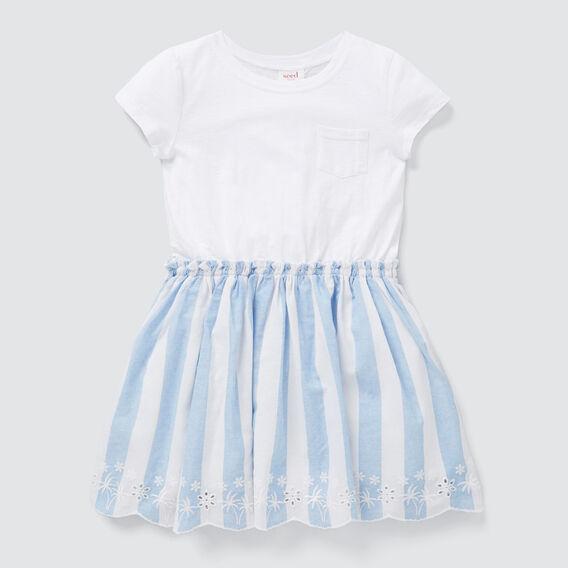 Spliced Stripe Dress  WHITE/OCEAN BLUE  hi-res